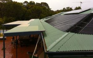 Roof used for electricity, water heating, shade and light